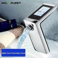 욕실 싱크 수도꼭지 온도 조절 분지 수도꼭지 터치 스크린 온도 및 흐름 제어 디지털 스마트 워터 절약