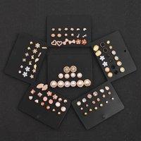Hoop & Huggie Women's Earrings Set Pearl Tassel For Women Gold Bohemian Fashion Jewelry 2021 Geometric Crystal Heart Stud Earring