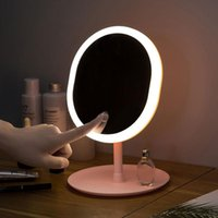 Compact Mirrors Desk LED Makeup Mirror With Storage Pink White Lamp Vanity Adjustable Touch Dimmer USB Rotating Cosmetic