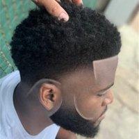 4mm 아프리카 헤어 모노 레이스 toupee basketbass 플레이어와 팬들을위한 브라질 버진 인간의 머리 교체 아프리카 컬 남자 가발 무료 shippinng