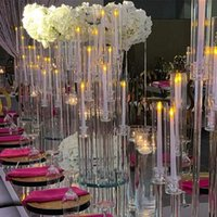 Party Decoration 10 Arms Long Stemmed Modern Clear Acrylic Tube Hurricane Crystal Candle Holders Wedding Centerpieces by sea RRB11034