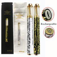 캘리포니아 꿀 일회용 vape 펜 구리 팁 분무기 1ml 두꺼운 오일 카트리지 기화기 빈 포장 가방 일회용 전자 담배 10 색 CQ 스티커