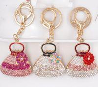 50 pcs Shell Bolsa de Bolsa Moda Keychain Diamante Liga Bolsa Keyring Mulheres Charme Presente de Aniversário Promoção Promoção Presente Hys07-1-7