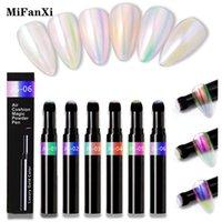 Mifanxi 6 لون مسمار الفن وسادة الهواء مرآة أورورا تأثير مسحوق السحر القلم الذهب كروم الصباغ الغبار تصميم مانيكير الديكور بريق