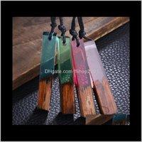 Pendant & Jewelryfashion Women Men Handmade Vintage Resin Wood Necklaces Pendants Long Rope Wooden Necklace Jewelry -P Drop Delivery 2021 Lki