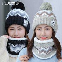 Ploermin Winwer's Winter Hat Ski Brand Grande Pompombots Bola Chapéus Chapéus Cachecol Set Femmes Geanie Caps Quente Caule Ao Ar Livre G0924