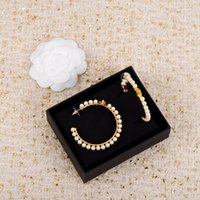 2021 패션 스타일 최고 품질의 대형 후크 드롭 귀걸이 여성을위한 진주 웨딩 쥬얼리 선물 스탬프 상자 PS4043