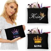 Fashion Crown Pattern Women Cosmetic Bags Travel Portable Storage Black Linen Handbags Makeup Bag Toiletry Bags