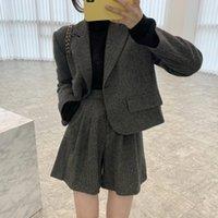 Women's Tracksuits Conjunto de blazer solto com gola entalhada, duas peças, vintage, manga longa, cintura alta, casual, calções perna largas, outono e M12K