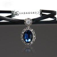 Exquisito lujo de lujo cristal colgante de moda encanto mujer inlay zircon cadena clavicular elegante cóctel paty joyería chokers