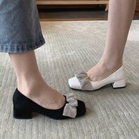 Dress Shoes Cloud Square Head Single Women's Spring and Autumn Leather Middle Heel Sho Korean Version Yang Mi's Same Fashion Mary Jane