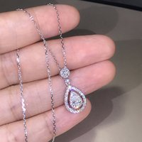 Victoria Sparkling المجوهرات الفاخرة 925 الاسترليني سيلفرروز الذهب ملء قطرة المياه الأبيض توباز الكمثرى تشيكوسلوفاكيا الماس النساء قلادة قلادة 1078 B3
