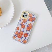 Pó de telefone tpu casos para iphone 12 11 pro promax x xs max 7 8 mais pequeno padrão floral cintilante