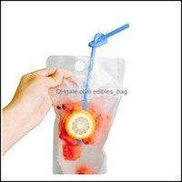収納ハウスキー組織ホームガーデンプラスチック飲料フラスコジュースコンテナ漏れ防止液ポーチ再使用可能なフラスコ袋クリア折りたたみ式
