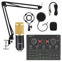 ميكروفونات BM800 ميكروفون V8 V9 بطاقة الصوت لعبة البث المباشر دفق دي جي مكثف حامل USB BT 5.0 كاريوكي استوديو تسجيل المهنية