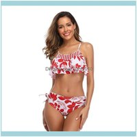 Water Beach Equipment Sports & Outdoors Women Tropical Leaf Sexy Bikini Set Flounce Top Side Dstring Bot Swimsuit One-Piece Suits Drop Deliv