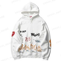 Harajuku Hoodie Sweatshirt Men Streetwear Fire Flame Graffiti Hip Hop Hoodie Trui Katoen Fleece Winter Sweatshirt Black