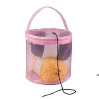 Tricot Sac de rangement Sac Coque Fil Tambour Femmes Crochet Crochet Fil Pochette Rond Sac fourre-tout Mesh DIY HWWE10384