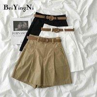Beiyingni terno shorts feminino cor sólida cinto vintage clássico estilo coreano blazer mulheres solta mais tamanho 210714