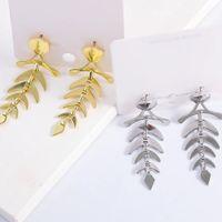 Dangle & Chandelier Charms Gold Color Fishbone Leaves Metal Earrings For Women Girls Korean Geometric Boho Statement Bijoux Party Gift Pendientes
