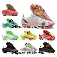 Saco de Presente Mens High Top Botas de Futebol CR7 Mercurial Vapores 14 XIV Libélula Elite FG Firma Terrem Chuteiras Ao Ar Livre Superfly 8 Neymar ACC Superflys VIII Soccer Shoes