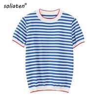 Isınma İnce Örme T Gömlek Kadın Giysileri 2021 Yaz Kadın Kısa Kollu Tees Çizgili Rahat T-shirt Kadın B-019 Kadınlar Tops