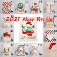 Modny Santa Claus Elk Wzór Pakiet Kieszonkowy Środowiskowy Płótno Sznurków Torba Prezent Spersonalizowane Boże Narodzenie Party Wakacje Dekoracji