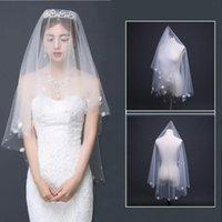 신부 베일 1.5m 패션 신부 파티 웨딩 드레스 액세서리 꽃 진주 스티커 비즈 레이스 헤어 베일