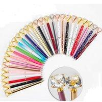 Crystal Glass Kawaii Ballpoint Pen Big Gem Ball Pens With Large Diamond Fashion School Office Supplies