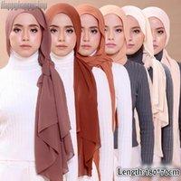 Foulards 1pcs Détail Plain Bubble Mousseline Mousseline Hijab Hijab Head Femmes Musulman Couleur Pure Couleurs Châles Femmme Pashmina Bandeau arabe Shayla