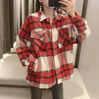 Vintage Stylish Pockets Oversized Plaid Jacket Coat Women 2021 Fashion Lapel Collar Long Sleeve Loose Outerwear Chic Tops Women's Jackets