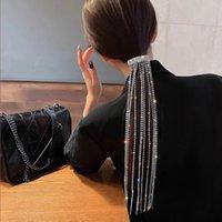 1 ADET Tam Rhinestones Saç Klipleri Uzun Zincir Püskül Parti Kadınlar Kızlar Için Parti Narin Firkete Saç Aksesuarları