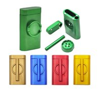 Colorful Grinder Set Smoke Machine Set With Smoke Pipe Grinder Case Pinch Hitter Grinder Combo Cigarette Holder Filter Pipe For Man Gift