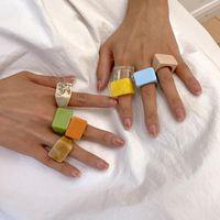 Cluster Ringen 2021 Korea Transparante Acryl Hars Geometrische Vierkante Ronde Ring Kleurrijk voor Vrouwen Meisjes Sieraden Geschenken