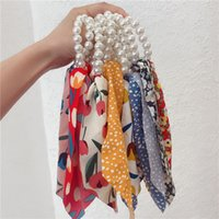 Ring Bows Knotted Pearl Ponytail Holder Hair Scrunchies for Women Cute Headdress Rope Rubber Bands Accessories