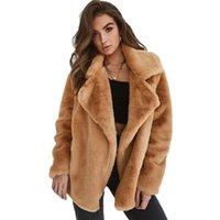 Women's Jackets Fashion Autumn Winter Turn Down Collar Warm Coat Outerwear Female Clothes Oversized 3XL Sexy Faux Fur Single Button