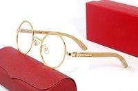 Luxus achteckige Übergroße Frauen Herren Sonnenbrille Gold Silber Metall Bambus Holz Retro Mode Brille Rahmen Adumbral Goggle Legierung Grau Classic mit Kasten