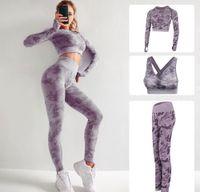Высокое качество бренда дизайнер дизайнер трексуиты женские хлопчатобумажные йоги костюм с длинным рукавом Sportwear Fitness Gymshark спорт три частей набор 3шт наряды бюстгальтер 10