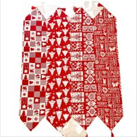 Christmas Decorations Table Flag Red Elk Plaid Cotton Tablecloth Polyester Four Styles A17