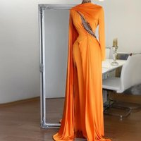 Party Dresses Orange Elegant Evening Gowns Long Sleeves High Split Crystals Dubai Women Formal Prom Pageant Plus Size Custom