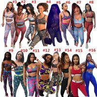 Kadınlar Tasarım Eşofman Yaz Mayo Spor Push Up Sutyen Yelek + Tayt Pantolon İki Parçalı Kıyafetler Hızlı Kuru Mayo Moda Takım Elbise 16 Renkler