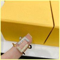 2021 여성 Luxurys 디자이너 링 다이아몬드 F 반지 쥬얼리 Buzatue Mens 골드 링 장식품 21080505R