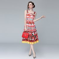 Girl Sling Dress New Arrival High End Summer Dress Sleeveless Pleated Dress Fashion Casual Lady Floral Dresses
