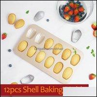 Mods Bakeware Kitchen, Dining Bar Home Gardennstick 12 캐비티 Mod Muffin Madeleine Pan Madeleines 케이크 베이킹 프라이팬 껍질 모양의 Mol