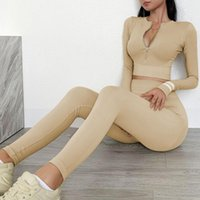 Seamless Women Sport Sets Gym Clothes Fitness Leggings+Long Sleeve Woman Tracksuit Sportswear Workout Running Suit Women's Tracksuits