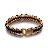 Gold Color Stainless Steel Biker Bracelet Men 12MM Wide Mens Wrap Leather Braid Bracelets Male Jewelry Armband Wristband Link, Chain