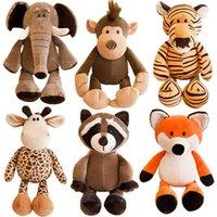 25 cm cute macio animais pelúcia brinquedo brinquedo guaxinim elefante girafa raposa leão tigre cão macaco para crianças por atacado