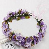 Hair Accessories 30# 2021 Fashion Ribbon Women Girl Bands Bridal Flower Garland Headband Crown Wreath Halo Pince Cheveux Femme