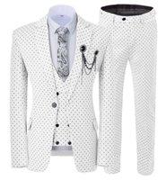 Men's Suits & Blazers Mens Wave Point Three Pieces Men Dress Casual Office Business For Wedding(Blazer+Vest+Pants)