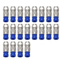 급수 장비 RG6 F 형 커넥터 동축 동축 압축 피팅 20 팩 (파란색)